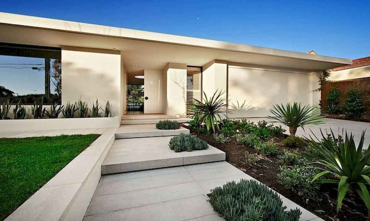 Simple clean modern front yard landscaping ideas (63)