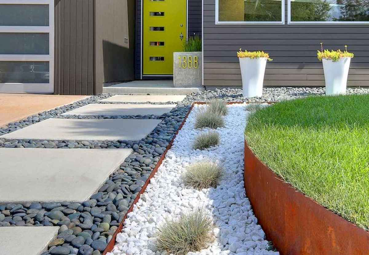 Simple clean modern front yard landscaping ideas (7)