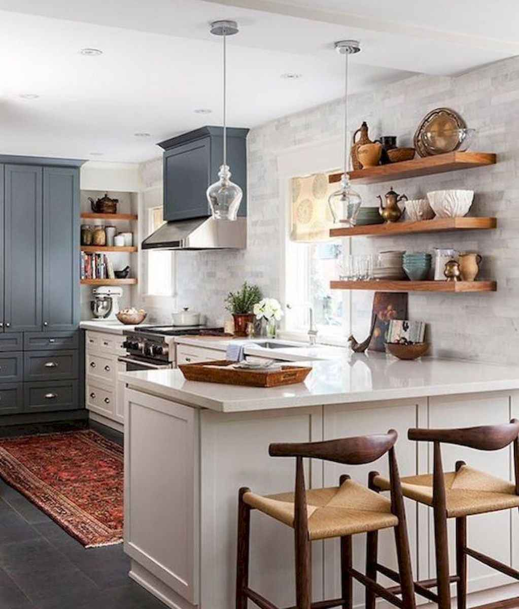 Clever small kitchen remodel and open shelves ideas (43)