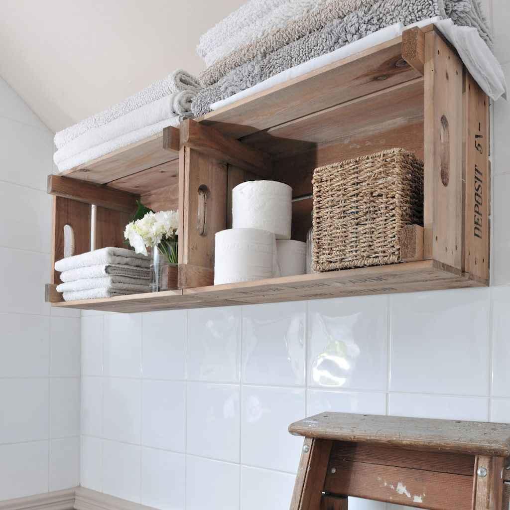 Cool bathroom storage shelves organization ideas (20)