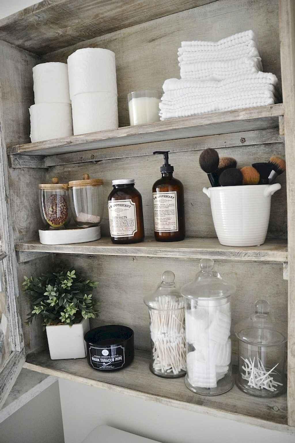 Cool bathroom storage shelves organization ideas (22)