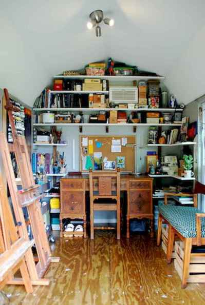 Cool diy backyard studio shed remodel design & decor ideas (42)
