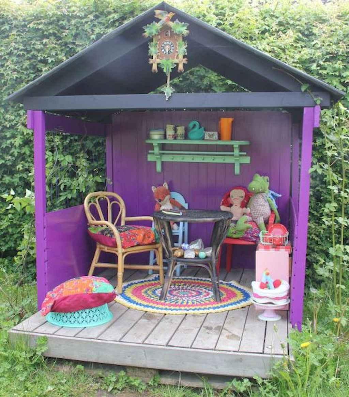 Magically sweet backyard playhouse ideas for kids garden (25)
