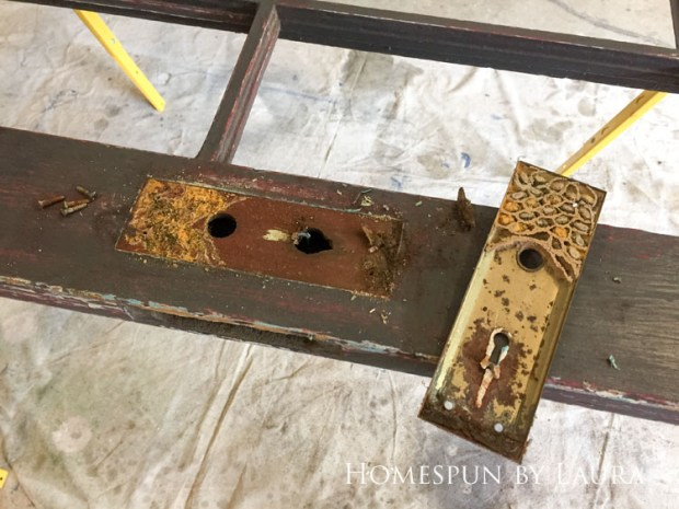Master bedroom refresh: old French door headboard | Homespun by Laura | Things to consider when using salvaged items for interior home decor