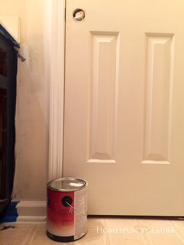 $75 DIY Powder Room (and Pantry!) Update: One Room Challenge Week 3 | Homespun by Laura | advanced locking system in absence of doorknobs