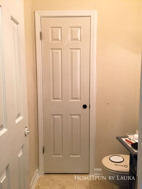 $75 DIY Powder Room (and Pantry!) Update: One Room Challenge Week 3 | Homespun by Laura | difference between old and new trim/door paint!