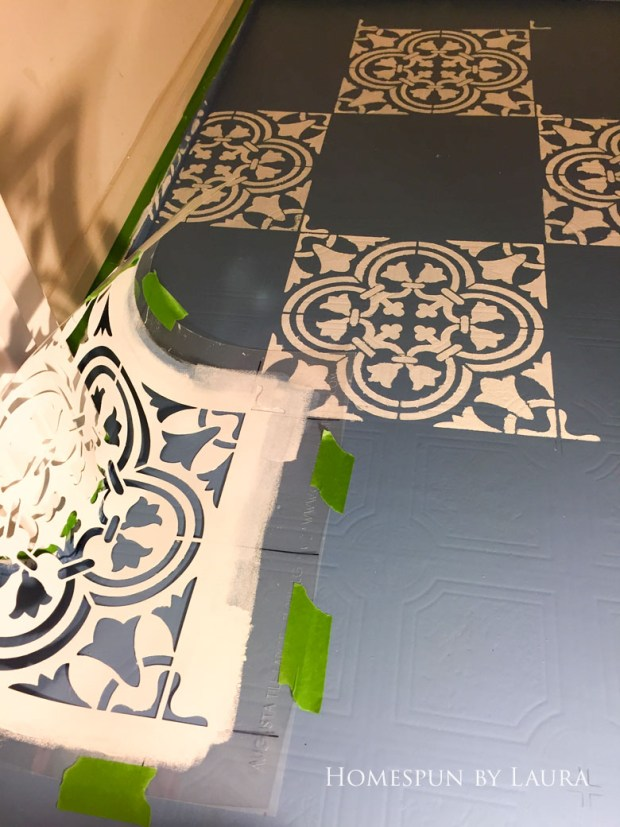 "$75 DIY Powder Room (and Pantry!) Update: One Room Challenge Week 3 | Homespun by Laura | Painting a linoleum floor with Cutting Edge ""Augusta"" stencil"