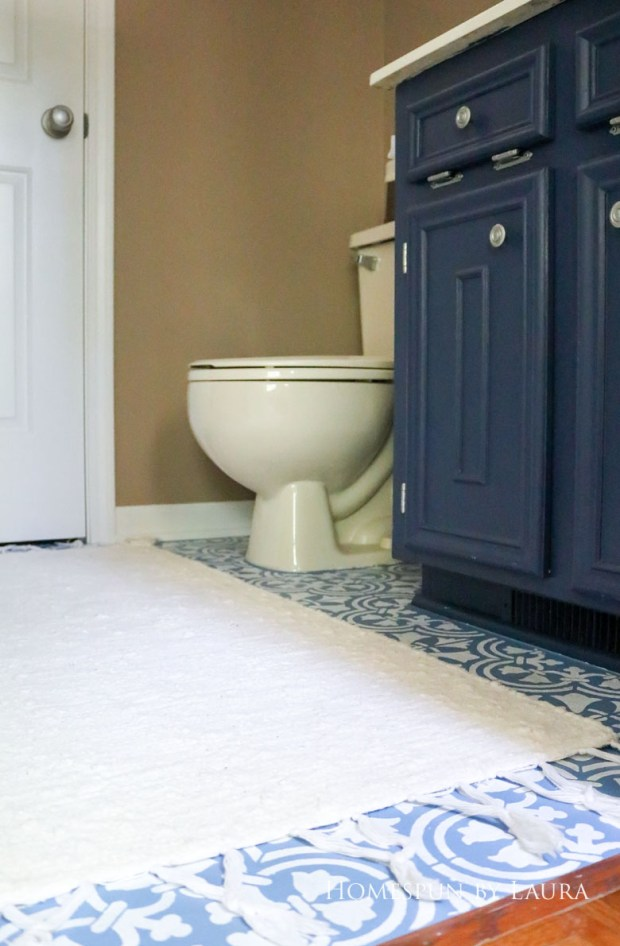 "$75 DIY Powder Room (and Pantry!) Update: One Room Challenge Week 3 | Homespun by Laura | Painting a linoleum floor with Cutting Edge ""Augusta"" stencil: The After"