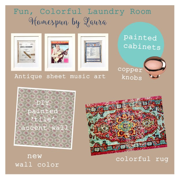 colorful laundry room mood board plan