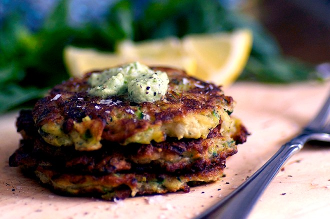 Zucchini Fritters with Basil and Cashew Sour Cream - Homespun Capers