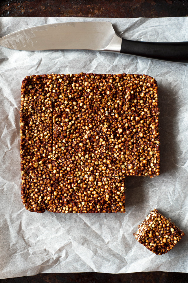 Chocolate Orange Crackle Bars! A quick, easy, no bake treat! Made with puffed gluten free seeds, buckwheat, orange and cacao butter! Vegan and gluten free.