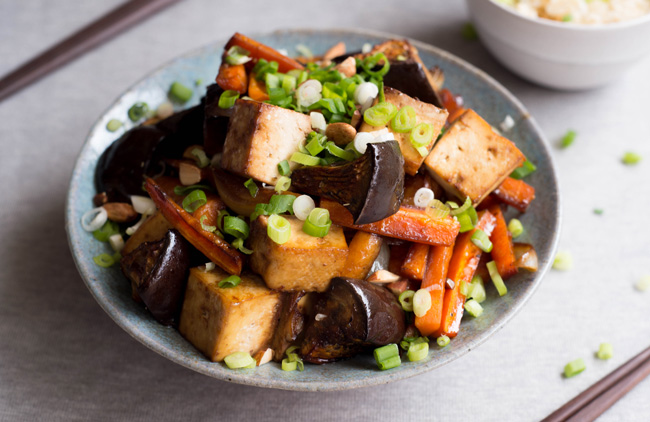 Double Onion Baked Tofu with Eggplant - Homespun Capers