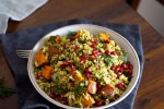 Spiced Sweet Potato and Freekeh Salad with Pomegranate   A festive salad that's vegan and potluck friendly.
