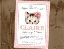 More Cat Birthday Invitations Printable Kitty Party Printables