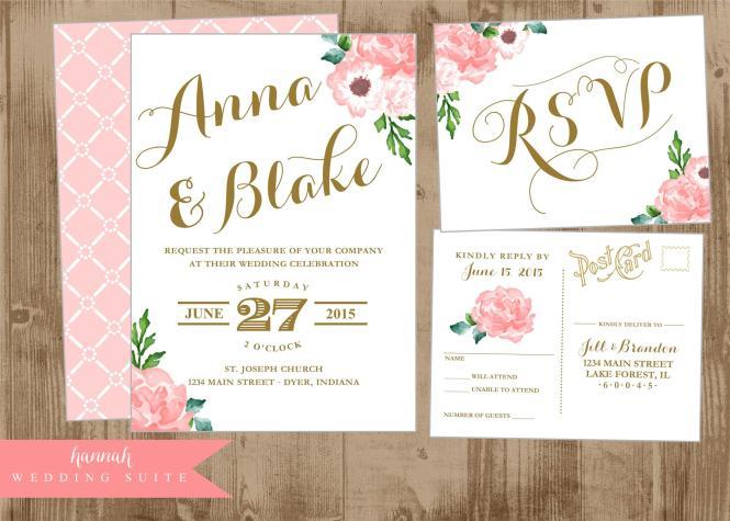 Printable Wedding Invitation Suite Pink