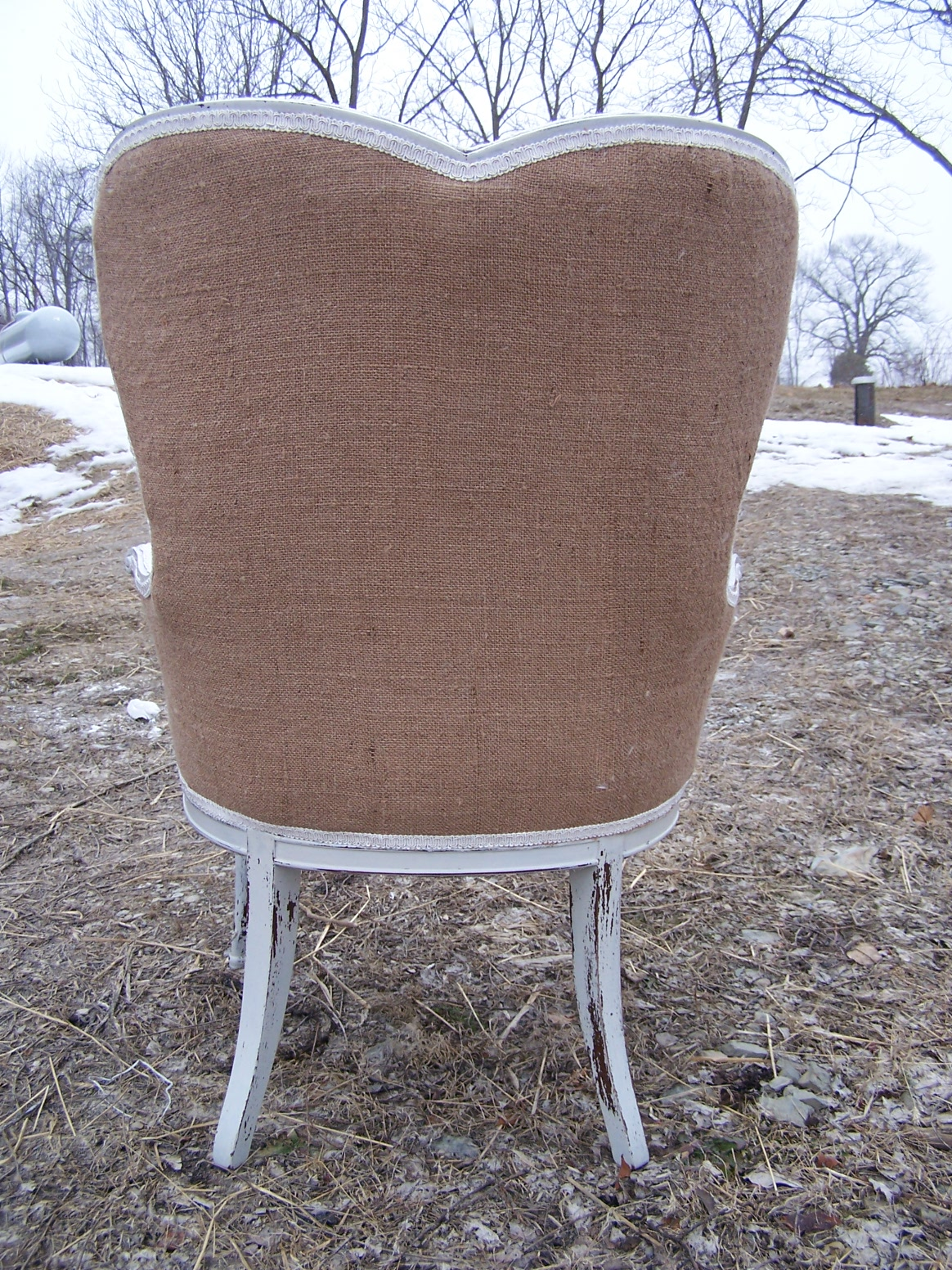 Burlap Chairs Womens Retreat Booth And A Burlap Upholstered Chair