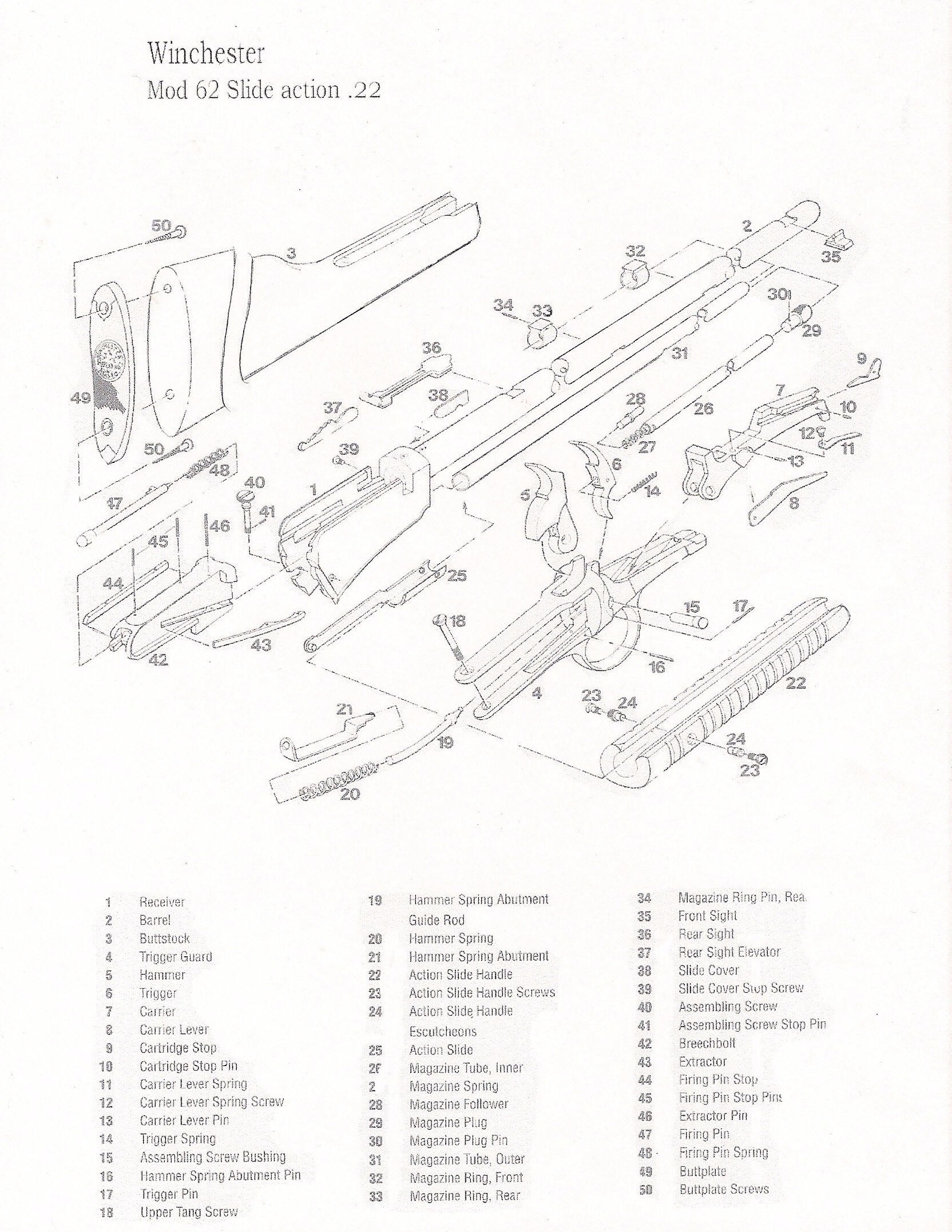 Winchester 62a Parts Picture