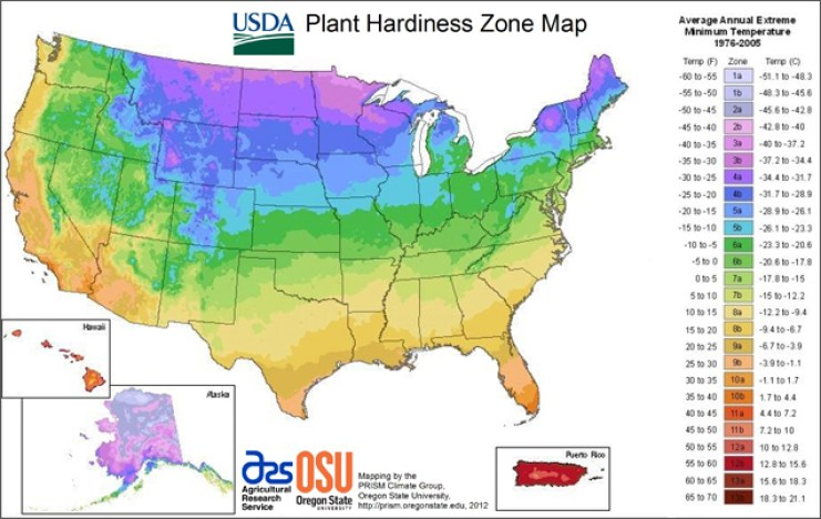 The USDA plant hardiness map, showing all the growing zones by color and region.