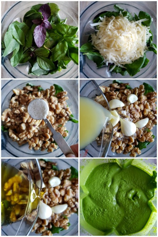 6 images in one. Each image is the same angle, showing the top of a vitamix blender. The first image is just  basil in the blender, then each ingredient is added on top in subsequent photos: grated parmesan cheese, walnuts, salt, garlic, lemon juice, olive oil, and then a final image of the bright green pesto, after blending.