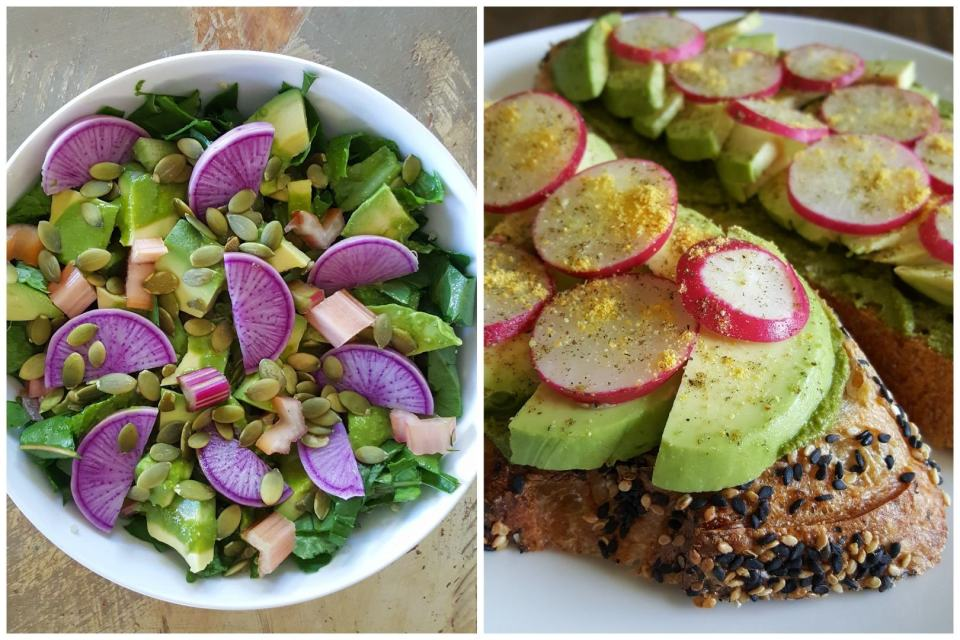Purple sliced radishes on a garden salad, and red sliced cherry belle radishes on avocado toast sprinkled with salt, pepper, and homegrown lemon powder.