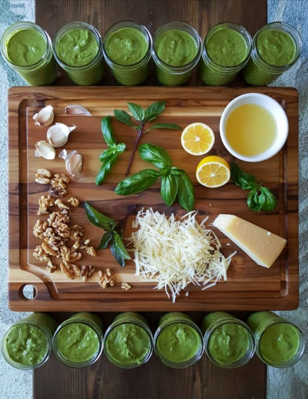 An image of all the ingredients needed to make pesto on a cutting board, shown from above, and artfully laid out: basil leaves, grated parmesan cheese, a little pile of walnuts, a lemon cut in half, and garlic cloves. The cutting board is surrounded by 12 8-ounce jars of bright green pesto.