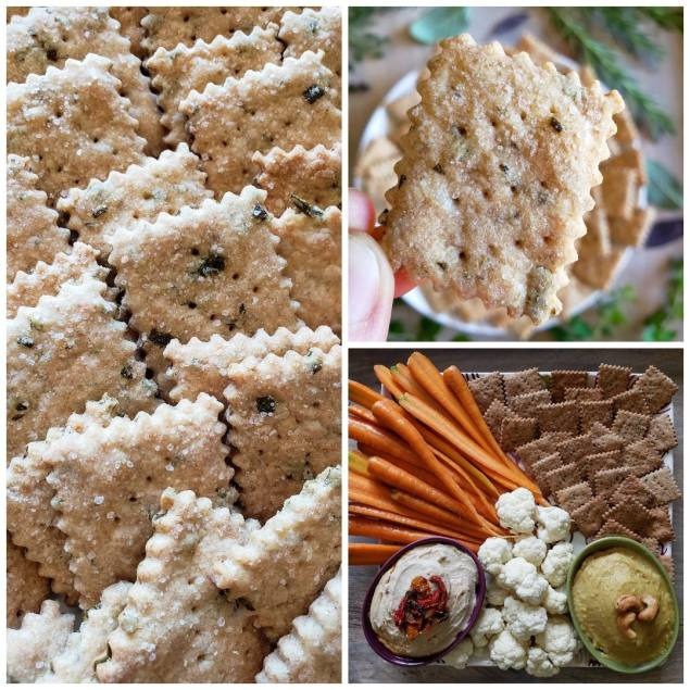 A three way photo collage of the finished crackers. One photo is a close up picture of 4 rows of crackers stacked neatly in a line, the 2nd photo shows a close up of a single cracker being held above the assemble plate. It has obvious specks of coarse salt, green flecks of herbs, a light brown color, and nice wavy edges. The final photo is of the crackers on an appetizer plate with carrots, cauliflower, humus, and cashew dip.