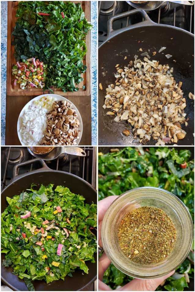 Four images. One shows a white plate full of cut brown mushrooms, onions, and garlic, with a cutting board of chopped greens nearby. The next shows a cast iron wok, with the muschrooms and onions cooked and soft. Next is the same wok, but now full of leafy greens like kale and swiss chard. The final image shows a hand hovering over the wok, holding a small glass jar of chili powder.
