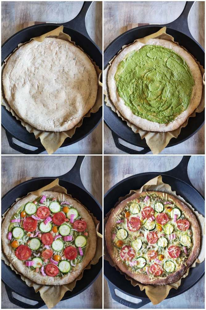 """A four way picture collage, the first being the dough after the initial par bake, it is still sitting in the cast iron skillet and is sitting atop a wooden cutting board. The next photo is the crust with a layer of pesto sauce spread evenly across its surface, leaving about 3/4 of an inch uncovered for the pizzas """"crust."""" The third image is the pizza crust topped with white sharp cheddar cheese, sliced zucchini rounds, sliced tomato rounds, and slices of chard stems spaced evenly across the pizza surface. The final image is after the pizza has been baked, the crust has browned to a dark, crispy state, the cheese has melted, and the vegetables are slightly shrunken in size due to the bake."""