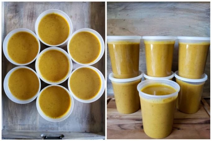 Two images of the finished roasted carrot and sweet potato soup, in 7 plastic quart jars ready to go into the freezer. One image is looking down on 7 circles of golden yellow orange soup from above, and one is of the quart containers stacked like a pyramid.