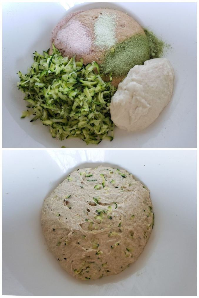 A two way image collage, The first image shows a close up of the inside of a white bowl, there is a dough ball in the very bottom with pink salt, a light greenish powder, and a darker green powder in three distinct lines across the top half of the loaf, the bottom half of the loaf is covered equally by shredded zucchini on the lower left and sourdough starter on the lower right. The second image shows the same bowl but the dough and all the ingredients have been mixed thoroughly together leaving a formed but wet ball of dough.