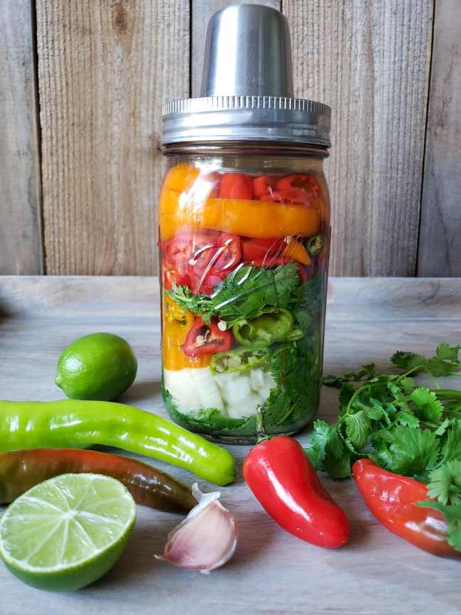 The jar of peppers, cilantro, onion, and garlic is sitting with the Kraut Source lid on top of it, ready to ferment. There are various chili peppers, lime, garlic, and cilantro laid about the foot of the jar, highlighting the ingredients which are inside of the jar which will turn into fermented hot sauce.
