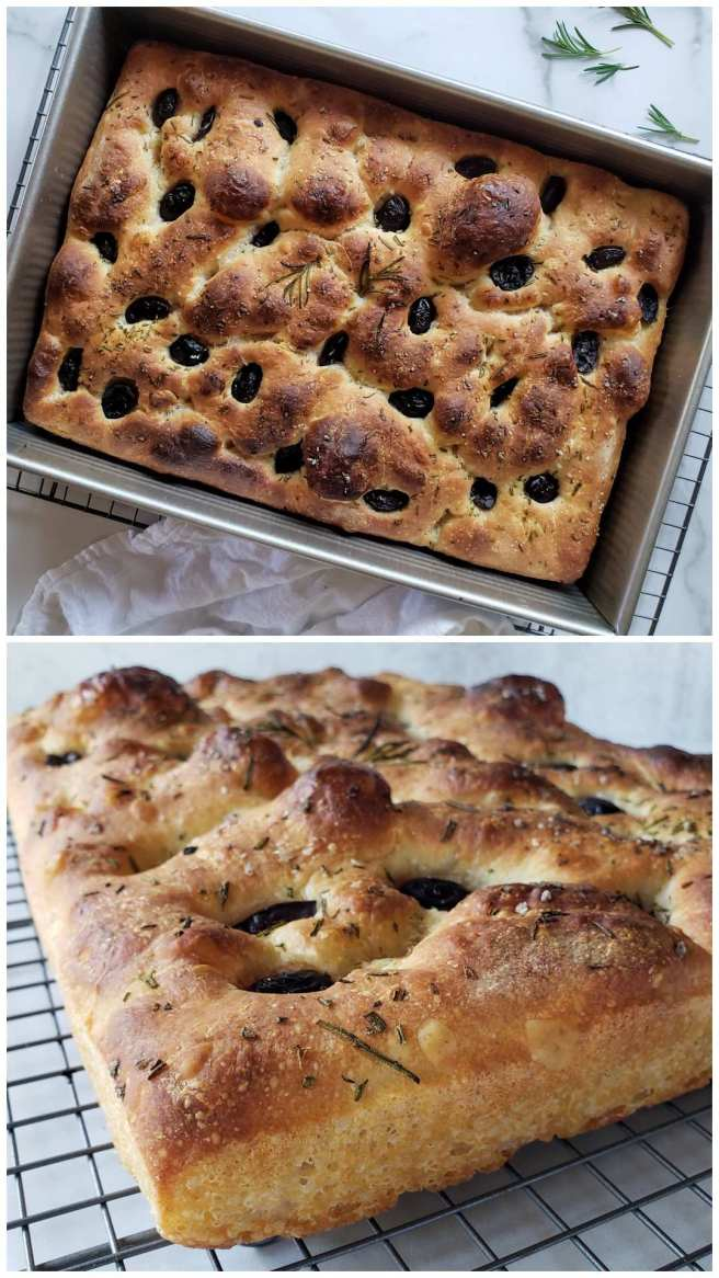 A two part image collage, the first image shows a baking dish full of sourdough focaccia after it has been baked. The top is golden brown to darker brown in some spots and the bread has pulled away from the sides of the pan as it baked. The second image shows the bread cooling on a wire rack, it is a close up image of the side of the bread, illustrating the golden honey colored crispy crust that forms on the bread that was in contact with the baking pan.