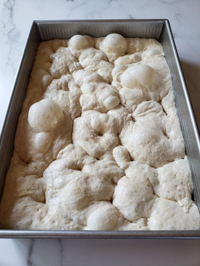 The sourdough focaccia dough is shown inside a baking pan after it has been poked  repeatedly to produce a bubbly, airy, and pillowy dough.