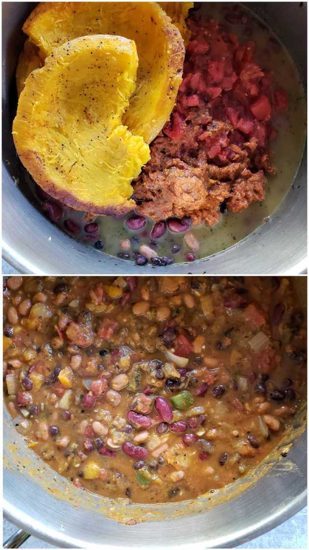 A two part image collage, the first image shows the chili after the broth, tomatoes, beans, and pumpkin have been added to the top of the original sauté. The second image shows the chili once it has been stirred together and mixed well. You can see each type of bean, onions, peppers, tomato and parts of pumpkin.