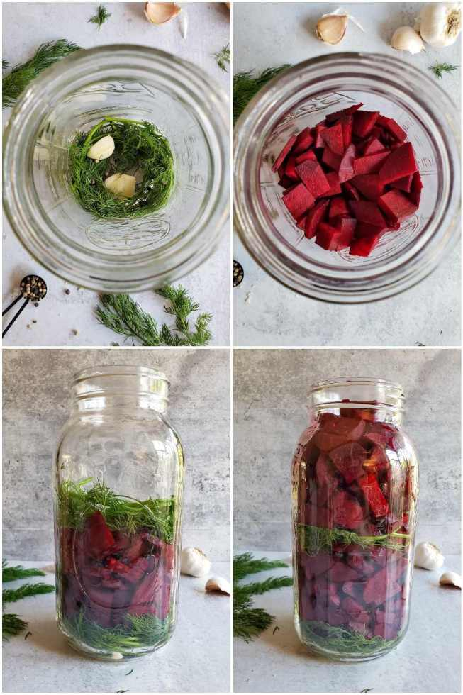 A four way image collage, the first image is a birds eye view of the inside of a half gallon mason jar that contains sprigs of dill, a couple cloves of garlic, and peppercorns. The second image shows the same birds eye view after beets have been added on top of the dill, garlic, and peppercorns, until the jar is halfway full. The third image shows the jar from the side half full after more dill and garlic have been placed on top of the beets. The fourth image shows the side of the jar after it has been filled to the brim with beets. You can see a layer of green dill in the bottom of the jar and halfway up the jar, sandwiched in between beet chunks. Sprigs of dill and cloves of garlic are scattered around the area around the jar.