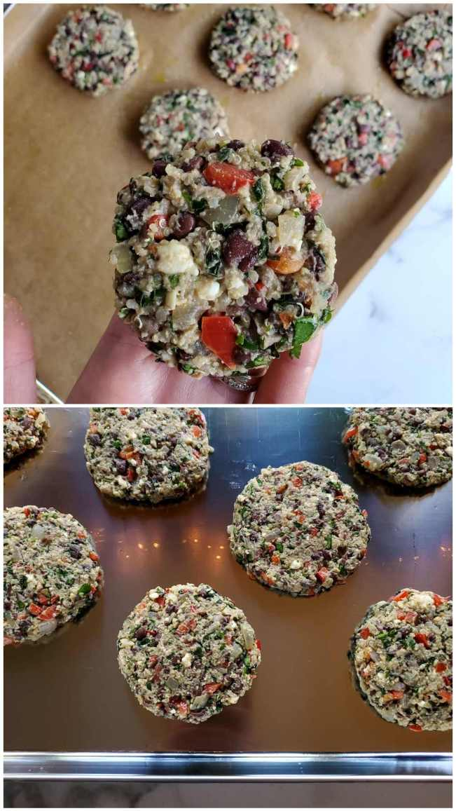 A two way image collage, the first image is a black bean and quinoa veggie burger is being held above a baking sheet lined with more veggie patties. The black bean, red bell pepper, onion, cilantro, and feta cheese is visible in the burger. The second image shows another baking sheet lined with larger veggie patties that could be served on a hamburger bun.