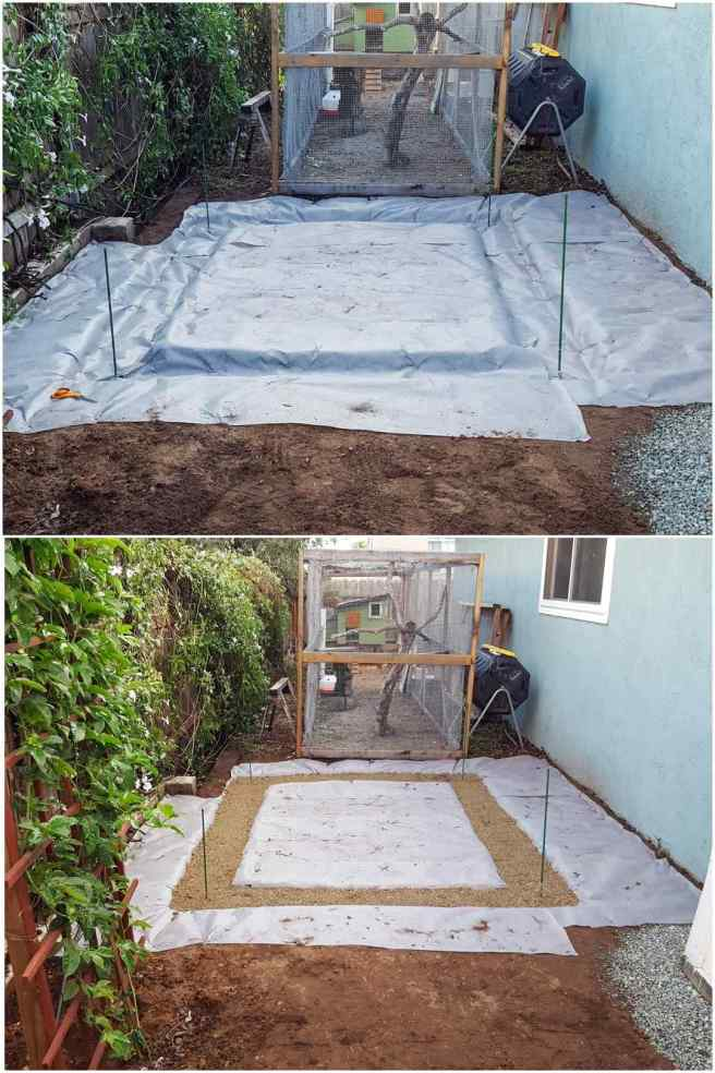 A two part image collage, the first image shows the rectangle and trench being covered with contractor grade landscape fabric, it is grey in color and has been attached to the ground using landscape stakes. The second image shows the foundation area after the trench has been filled with road base material and tamped down. The three or four inch deep trench will be the foundation for the block foundation to sit on.
