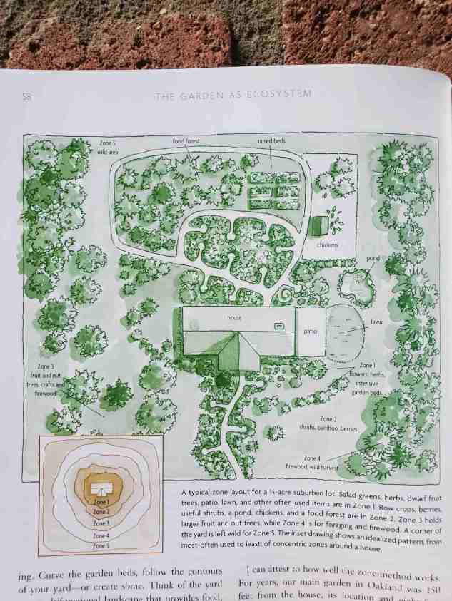 An image of a permaculture design from a book that is laid out on the bricks of a fireplace. Using a permaculture design is a great way to start a homestead.