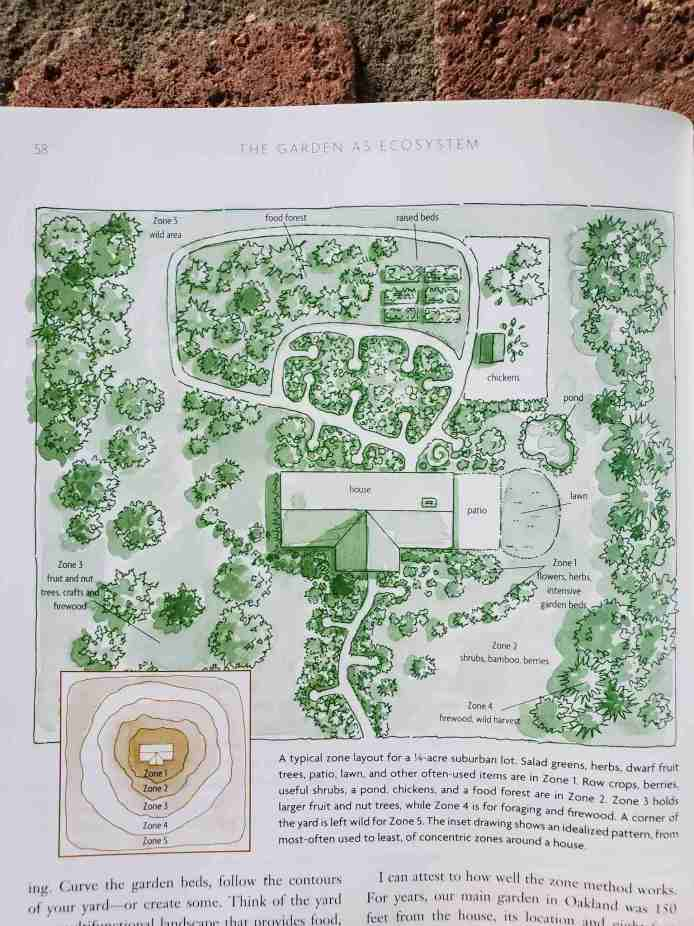 A great gardening book about permaculture is open to a page showing a drawing, illustrating the garden as an ecosystem set up around a house. There are flowers, herbs and intensive garden beds close to the house. Shrubs and berries a little further away, followed by firewood and wild harvest even further. There are also fruit and nut trees, raised beds, a pond, chickens, and a food forest set up around the household.