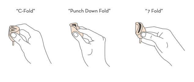 """A diagram showing three types of """"folds"""" that are used on a menstrual cup for insertion into a woman's vagina. They are the """"C-Fold"""", """"Punch Down Fold"""" and """"7 Fold""""."""