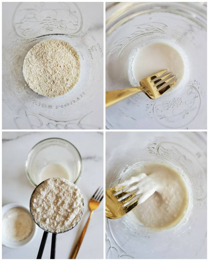 A four way image collage, the first birds eye image shows a small amount of an off white powder in the bottom of a pint mason jar. The second image shows the bottom of the jar after water has been added to create a runny liquid. A gold fork is resting in the jar. The third image shows a half tablespoon measurement of flour being held over the mason jar, there is a ramekin of flour sitting next to the jar and a gold fork is sitting on the opposite side of the jar as the ramekin. The fourth image shows a close up image of the bottom of the jar after the flour has been added and stirred in. The gold fork is partially covered in the sourdough mixture as it was used to stir the mixture.