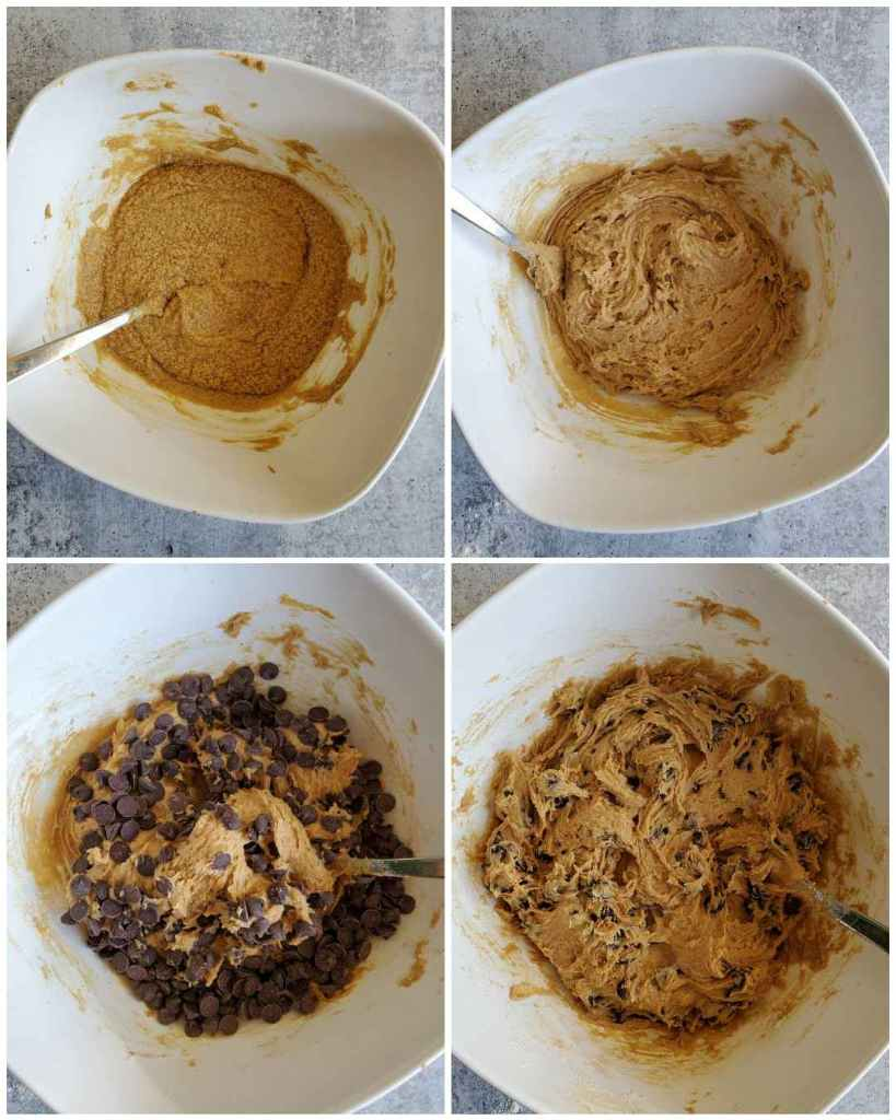 A four way image collage, the first image shows a white ceramic bowl with a mixture of sugar and butter resting in the bottom, it resembles a dark and thick cornbread batter. The second image shows the same bowl after flour has been added to it and just mixed enough to incorporate it. The third image shows the same bowl with the dough, chocolate chips are now covering most of the dough, a fork is inserted into the middle, lifting some of the dough up. The fourth image shows the dough after the chocolate chips have been mixed into the mixture. The sourdough chocolate chip cookie dough can now be proofed before baking.