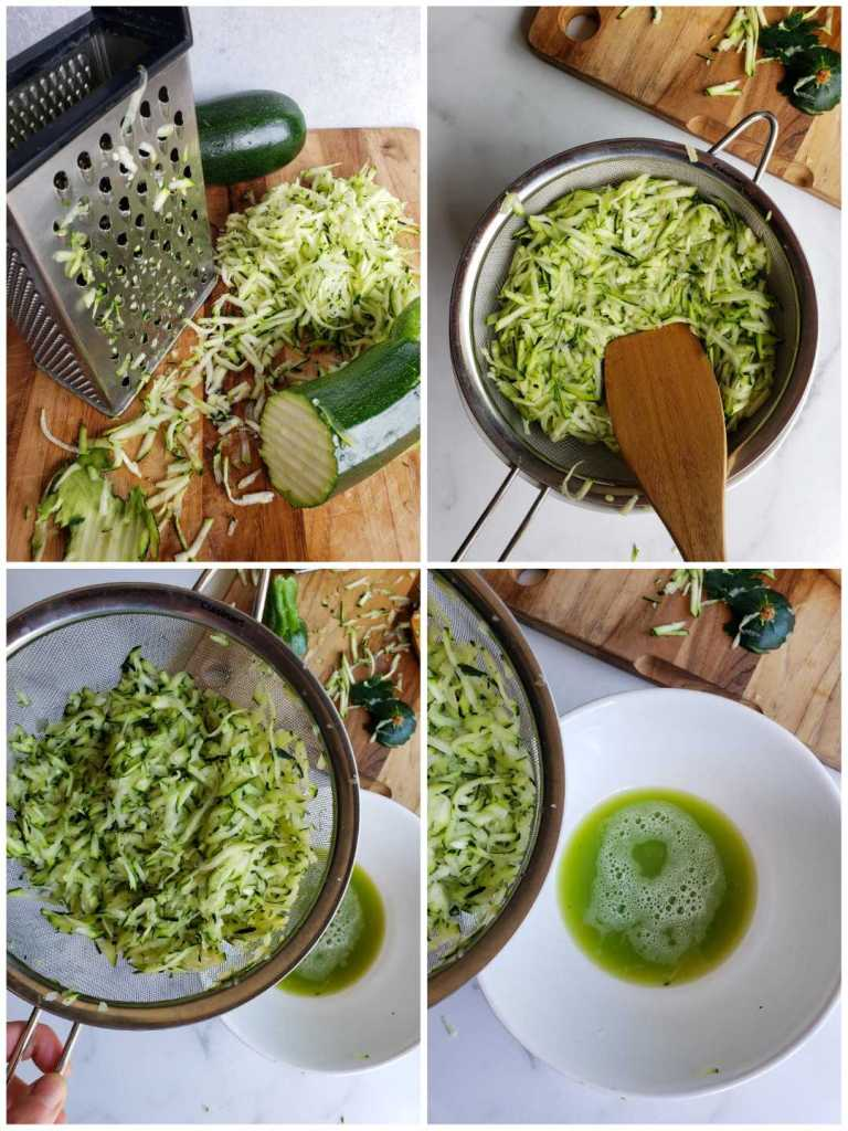 A four part image collage, the first image contains a block cheese grater on a wooden cutting board, around the grater include two halves of zucchini and a pile of grated zucchini. The second image shows a stainless steel fine mesh strainer with grated zucchini inside of it. A wooden spoon is pressing the grated zucchini down to extract extra moisture. The third image shows the strainer lifted off of the bowl that now has green liquid resting in the bottom of it. A wooden cutting board is shown with zucchini bits that are left over from the grating. The final image shows a closer look of green liquid in the white bowl to illustrate the amount of water that came out. To freeze zucchini, it is best to extract as much liquid as possible as it will retain its texture better this way.