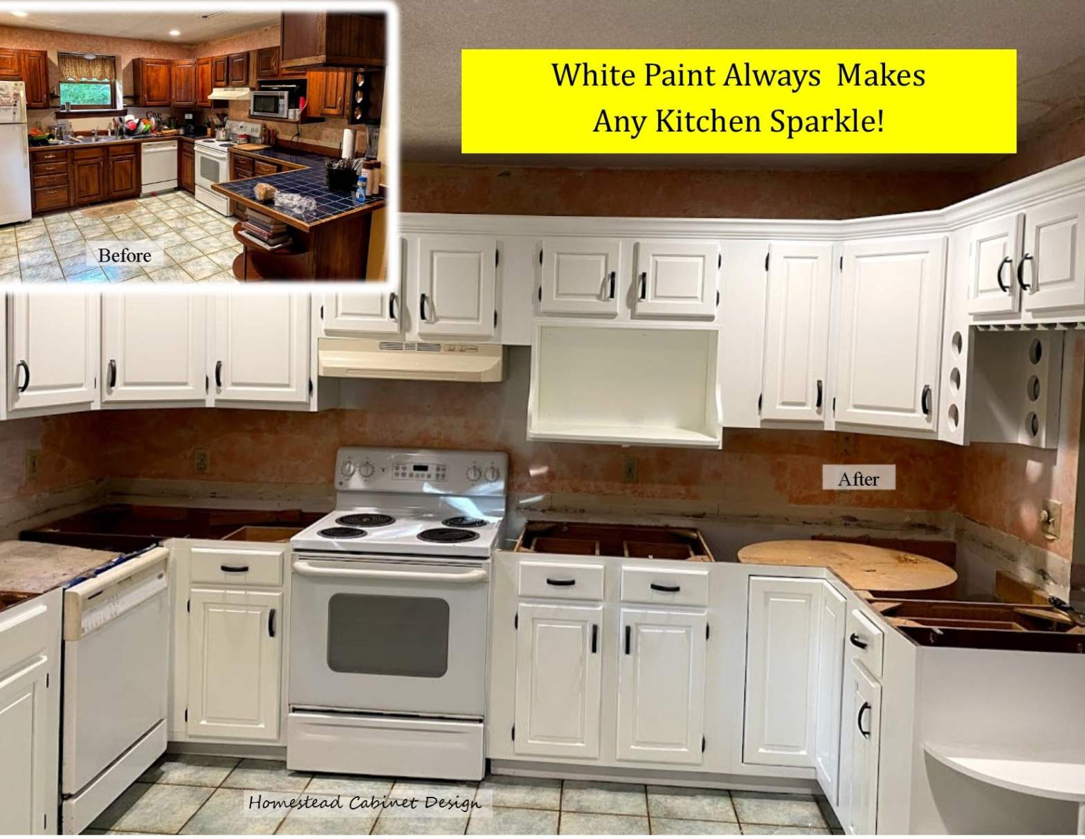 repaint for white paint for a beautiful kitchen