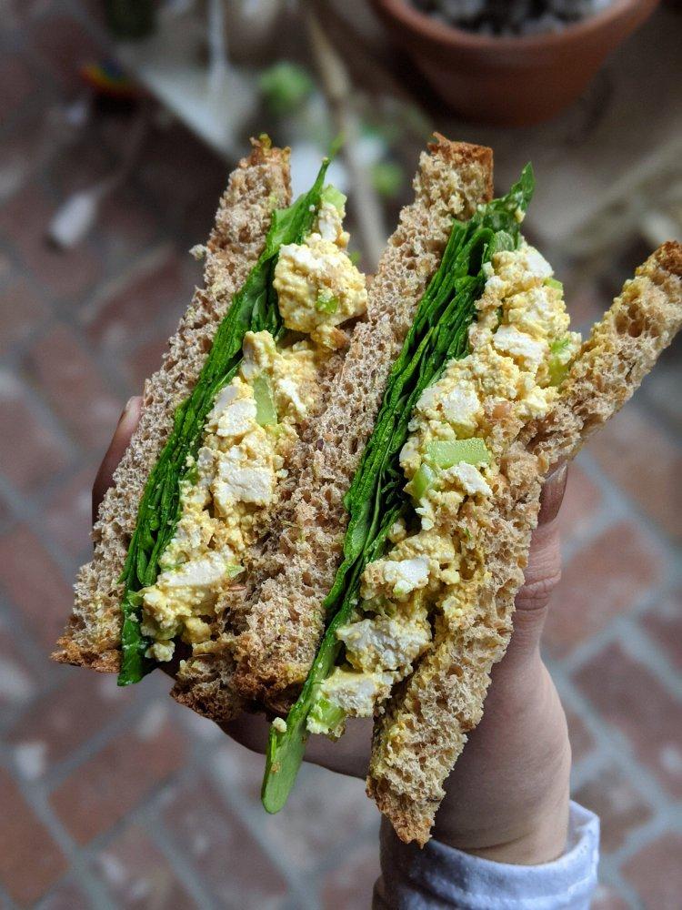 Tofu 'Egg' Salad Sandwich (Vegan, Gluten Free, Dairy Free)