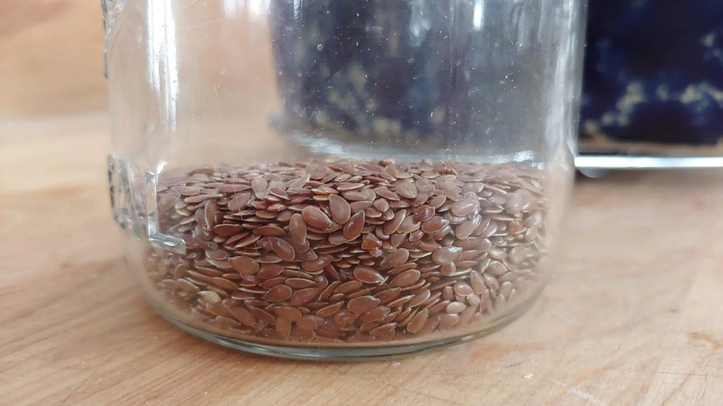 flax seeds in a jar