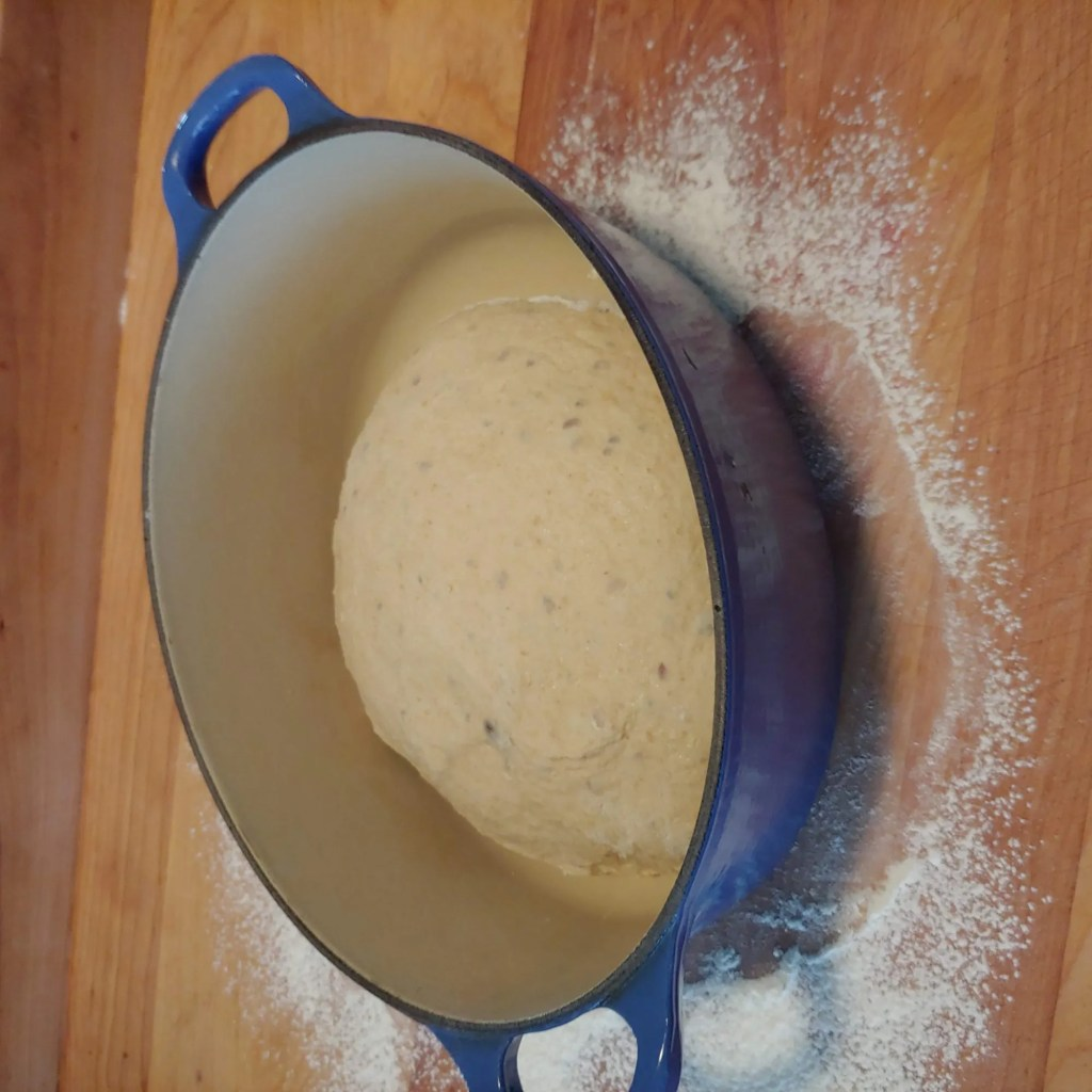 no-knead dough in enameled dutch oven