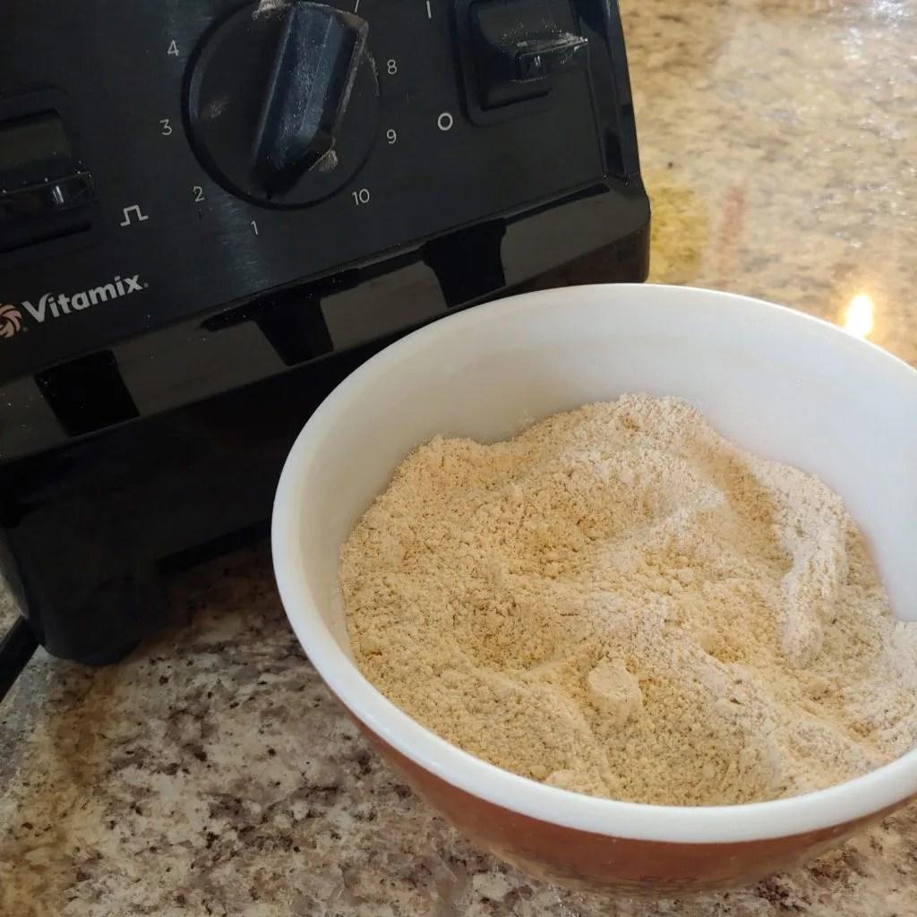 ground flour from a blender