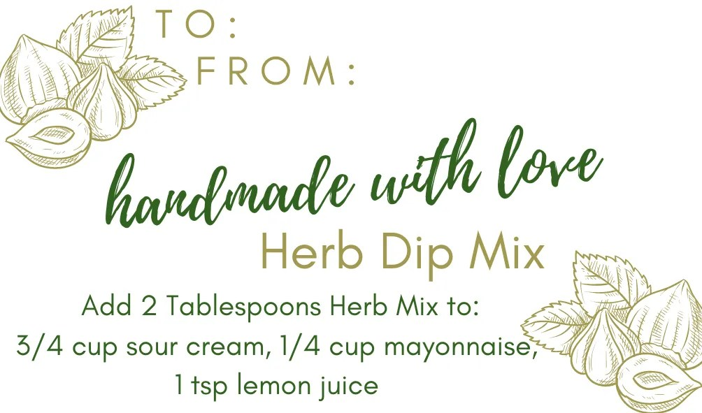 homemade herb dip label