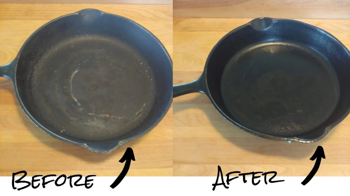A cast iron pan rescued from the thrift store before (with rust) and after season (showing a nice black patina starting to form)